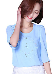 Summer Women's Fashion Embossing Beading Round Neck 1/2 Sleeves Casual Chiffon Shirt Slim Tops Work Blouse