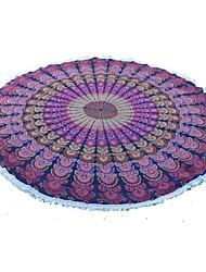 1.8m Circles Tapestries Screen Printed Fabric Indian pecock print Blanket