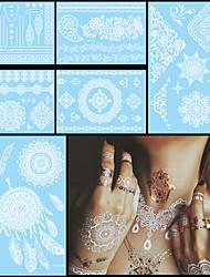 6pcs branco temporária tatuagem impermeável para o corpo mulheres pescoço da arte da letra da flor de jóias colar de casamento tatuagem de
