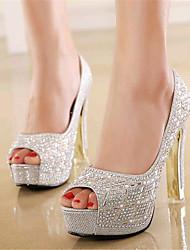 Women's Shoes Leatherette Stiletto Heel Heels / Peep Toe Heels Wedding / Party & Evening Black / Yellow / Silver