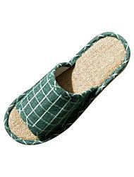 Zapatos de mujer-Tacón Plano-Zapatillas-Pantuflas-Casual-Algodón-Negro / Bermellón