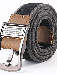 Mens Canvas Belt Double Buckle Waist Strap Belts
