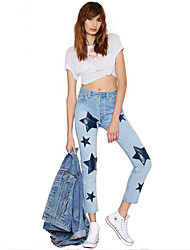 Women's Print Blue Jeans Pants,Casual / Day
