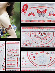 5pcs Red Silver Gold Necklace Chain Temporary Flash Metallic Tattoos Sticker Waterproof