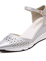 Women's Shoes Patent Leather Wedge Heel Wedges  / Comfort / Pointed Toe Heels Office & Career / Casual Black / Silver