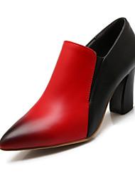 Women's Shoes Chunky Heel Heels / Pointed Toe Heels Wedding / Outdoor / Dress Black / Red