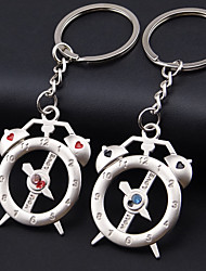 A Pair Alloy Alarm Clock Key Chain Creative Couple Lovers Key Ring Gift Keychain