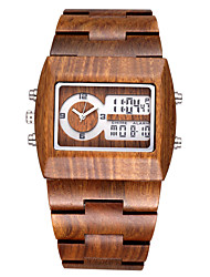 BEWELL ® Men's Brand Multi-function Sandalwood Watches with Date/ Week/Alarm/ LED Back Light Quartz Relogio Masculino