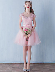 Short / Mini Tulle Bridesmaid Dress - A-line Jewel with Bow(s) / Lace