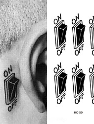 3D Switch Button Design Temporary Tattoo Sticker Waterproof Fake Tattoo Sticker Men Women Ears Personalized Stereoscopic