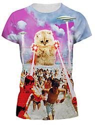 Damen Druck Einfach / Street Schick Lässig/Alltäglich T-shirt,Rundhalsausschnitt Sommer Kurzarm Rosa Nylon / Elasthan Mittel