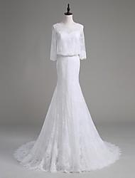 lanting mariée trompette / robe de mariage cour sirène de train cuillère dentelle / satin / tulle