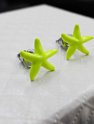 Personality Style Fluorescent Yellow Starfish Lady Earrings