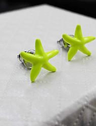 pendientes de la señora fluorescente estrellas de mar amarillo estilo de personalidad