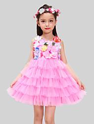 Girl's Green / Pink / Purple Dress,Print Polyester All Seasons
