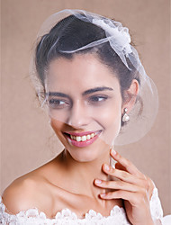Wedding Veil One-tier Blusher Veils / Fingertip Veils / Headpieces with Veil Raw Edge Tulle White