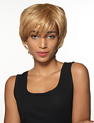 Wearable Natural Short Straight Remy Human Hair Hand Tied Top Wigs for Woman