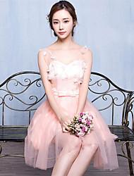 Corta / Mini Tul Vestido de Dama de Honor Corte en A Cuello en V con Encaje