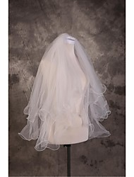 Wedding Veil Two-tier Elbow Veils Cut Edge Pencil Edge Tulle Beige