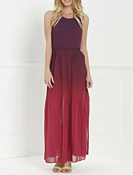 Women's Sexy Color Block Swing Dress,Halter Maxi Polyester