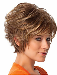 Women Short Curly Synthetic Hair Wig Brown with Hair Net