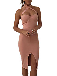 Women's Sexy Solid Bodycon Dress,Halter Knee-length Polyester / Spandex