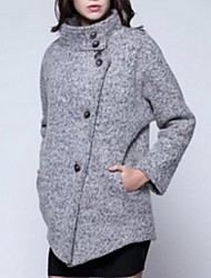 Manteau Aux femmes Manches Longues Street Chic Polyester