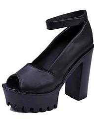 Women's Shoes Leatherette Stiletto Heel Heels Sandals Party & Evening Black / White