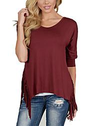 Damen Solide Street Schick Lässig/Alltäglich T-shirt,Rundhalsausschnitt Alle Saisons ½ Länge Ärmel Rot Kunstseide Dünn