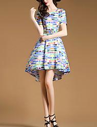 De las mujeres Línea A Vestido Simple Bloques Asimétrico Escote Redondo Poliéster