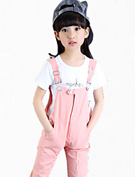 Girl's Green / Pink Tee / Overall & Jumpsuit,Dresswear Summer