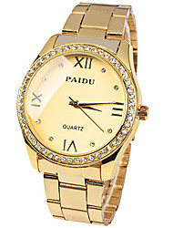 PAIDU Brand Gold Steel Strip Fashion Wrist Watch with Rhinestone  Women Cool Watches Unique Watches