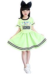 Vestido Chica de-Verano-Algodón-Verde / Rosa / Blanco