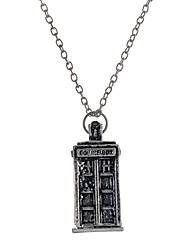 Euorpen Style Antique Silver Alloy Telephone Booth Pendant Necklace