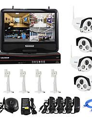 yanse® plugue sem fio de 10 polegadas e jogar hd 4-ch sistema de câmera de segurança de vigilância p2p 720p casa bala NVR kit cctv
