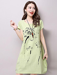 Women's Vintage Floral Loose Dress,Round Neck Knee-length Linen