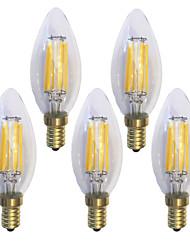 5 ks kwb E14 5W / 6W 6 COB 600 lm Teplá bílá C35 edison Retro LED žárovky s vláknem AC 220-240 V