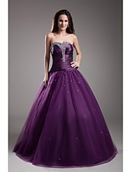 TS Couture Formal Evening Dress - Vintage Inspired Ball Gown Strapless Floor-length Taffeta Tulle with Beading