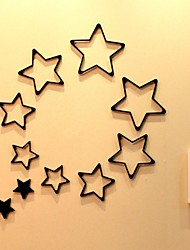 Set 5pcs 3D Five-pointed star Wooden Wall Decals Removable Sticker Door Decor