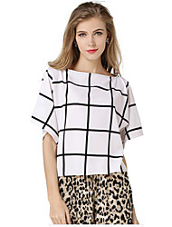 European And American Large Size Loose Chiffon Bat Big Black And White Plaid Shirt