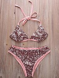 Bikini Aux femmes Rubans Sans Armature Licou Spandex