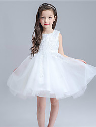 A-line Knee-length Flower Girl Dress - Cotton / Lace / Tulle Sleeveless Jewel with
