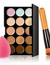 15 couleurs anticernes palette + bois poignée brosse + éponge puff base de maquillage anticernes de base pour le maquillage