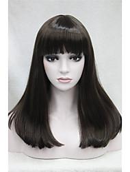Preto Médio mulheres heterossexuais completo peruca de cabelo sintético