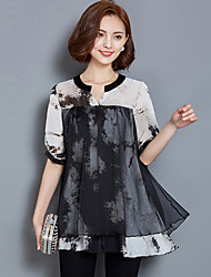 Summer 2016 Printing Fake Two Short-Sleeved Blouses