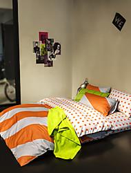 Orange striped duvet cover Sets 100% Cotton Bedding Set Queen/Double/Full Size