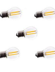 5pcs g45 4w e27 400lm lampe à incandescence led à incandescence à incandescence / lumière de couleur vive de 360 degrés (ac220-240v)