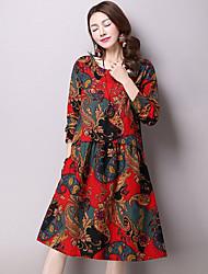 Women's Vintage Print Loose Dress,Round Neck Knee-length Linen