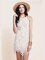 Damen Kleid-Bodycon Sexy Solide Asymmetrisch Polyester Rundhalsausschnitt
