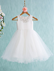 Ball Gown Knee-length Flower Girl Dress - Satin Tulle Jewel with Beading Bow(s)